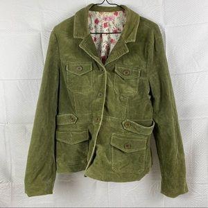 Obvious Khaki Green Long Sleeve Denim Like Floral Inner Utility Jacket Size 12